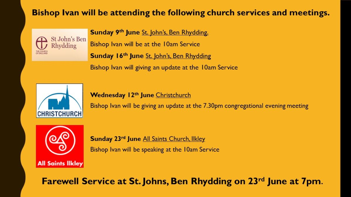 Bishop Ivan's Services for June 2019 and Letter Exchange