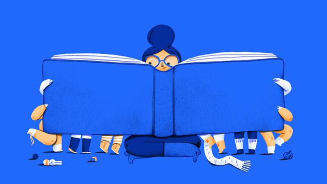 Illustratie van een juf aan het lezen in een boek