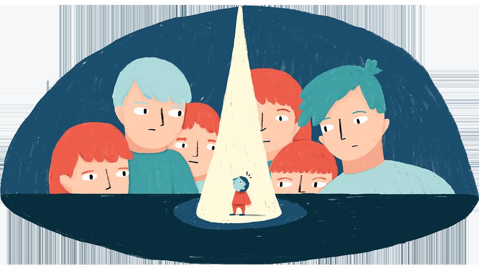 spreekangst: illustratie met kind onder een spot