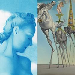 Een schilderij van Magritte naast een schilderij van Dali
