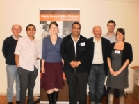 Presenters of the Koorie 'Know Your History, Preserve Your Culture' Workshop held in Mildura: (left to right) Bruce Smith, Ben James, Peta Knott, Ed Story, Sebastian Gurciullo, Nick Selenitsch and Miriam Troon.