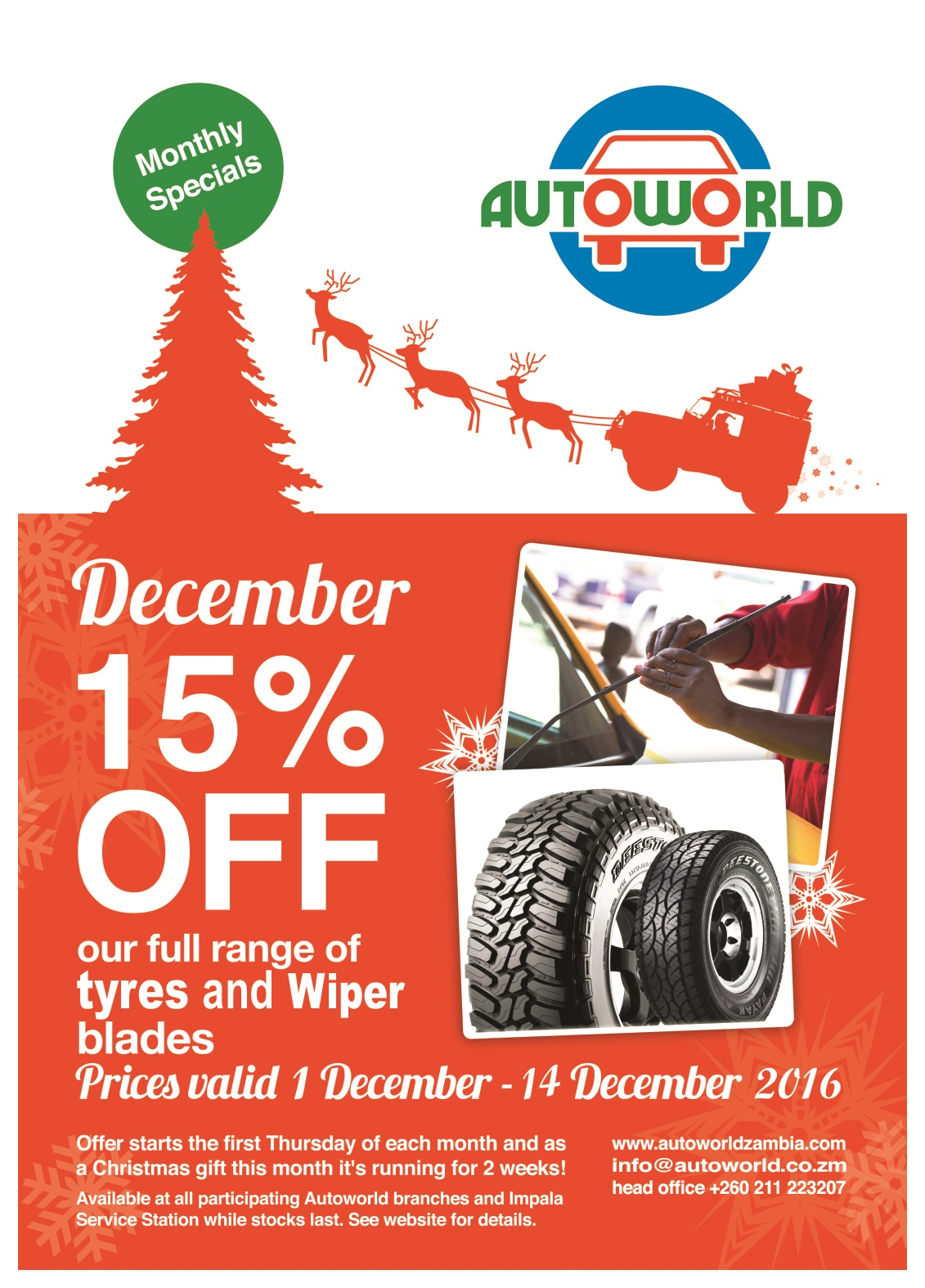 December 2016 special offer on Tyres and Wiper blades