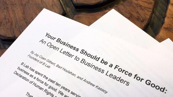 B Lab open letter