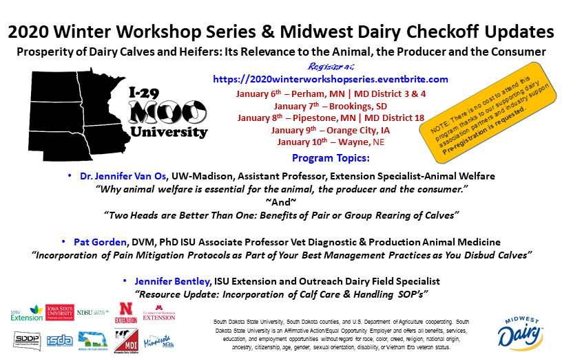 I-29 Moo University Winter Workshop Series flyer