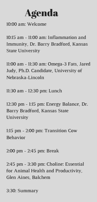 transition cow workshop agenda