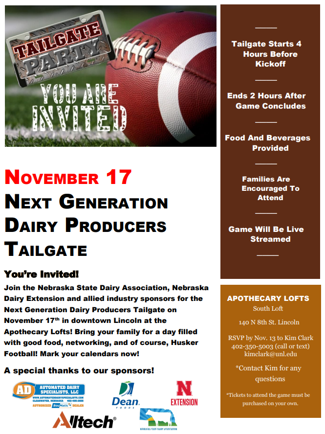 Flyer invitation for next generation dairy producers tailgate