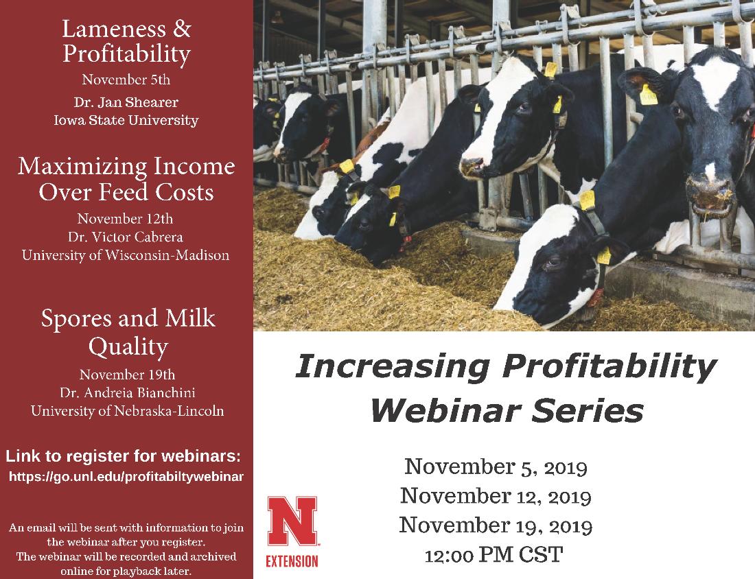 Dairy Profitability Webinar Series Postcard