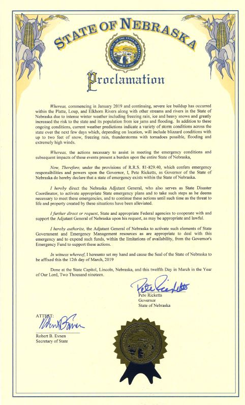 Nebraska Executive Order signed March 2019 for emergency disaster relief