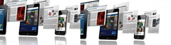 A lne of Mobile devices with Publication images on their screens