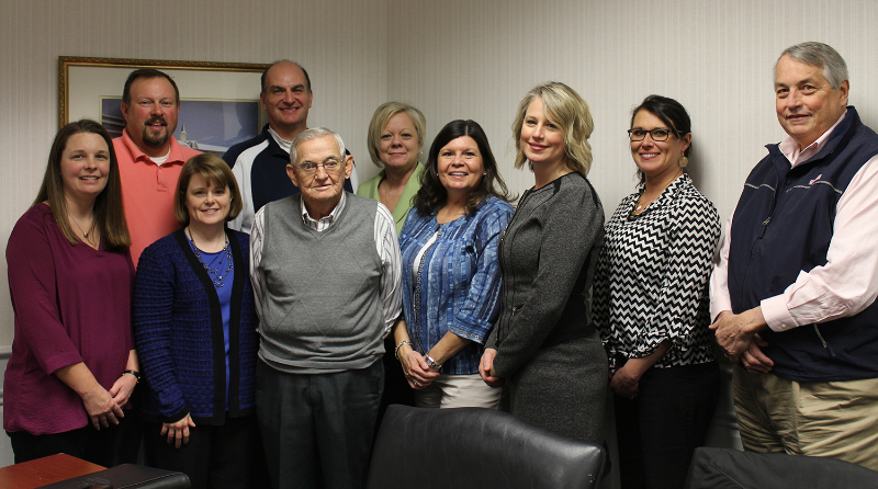 "A.L. ""Pee Wee"" Sinclair was surrounded by members of the PRIDE Board of Directors and current and former PRIDE employees, as well as Karen Kelly, District Administrator for Congressman Hal Rogers. Left to right: Jennifer Johnson, Mark Davis, Cindy Lackey, Rodney Hitch (PRIDE Board member), Pee Wee Sinclair, Becky Calhoun, Sandy Gay (PRIDE Board Secretary), Karen Kelly, Tammie Wilson (PRIDE President/CEO) and Phil Osborne (PRIDE Board Chairman). Photo by Blake Spires, Adair Progress."