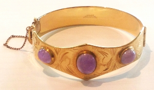 Gold and natural amethyst bracelet