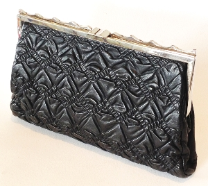 Art Deco Clutch Handbag, Quilted Leather