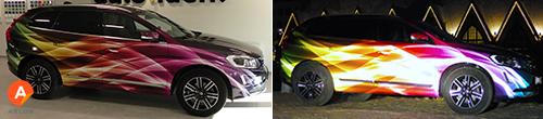 Heijastava yliteippauskalvo tekee ajoneuvosta päivällä näyttävän ja pimeällä loistavan.