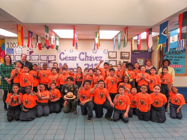 Fourth-grade Buddy Bison students from Cesar Chavez Elementary in Hyattsville, MD.