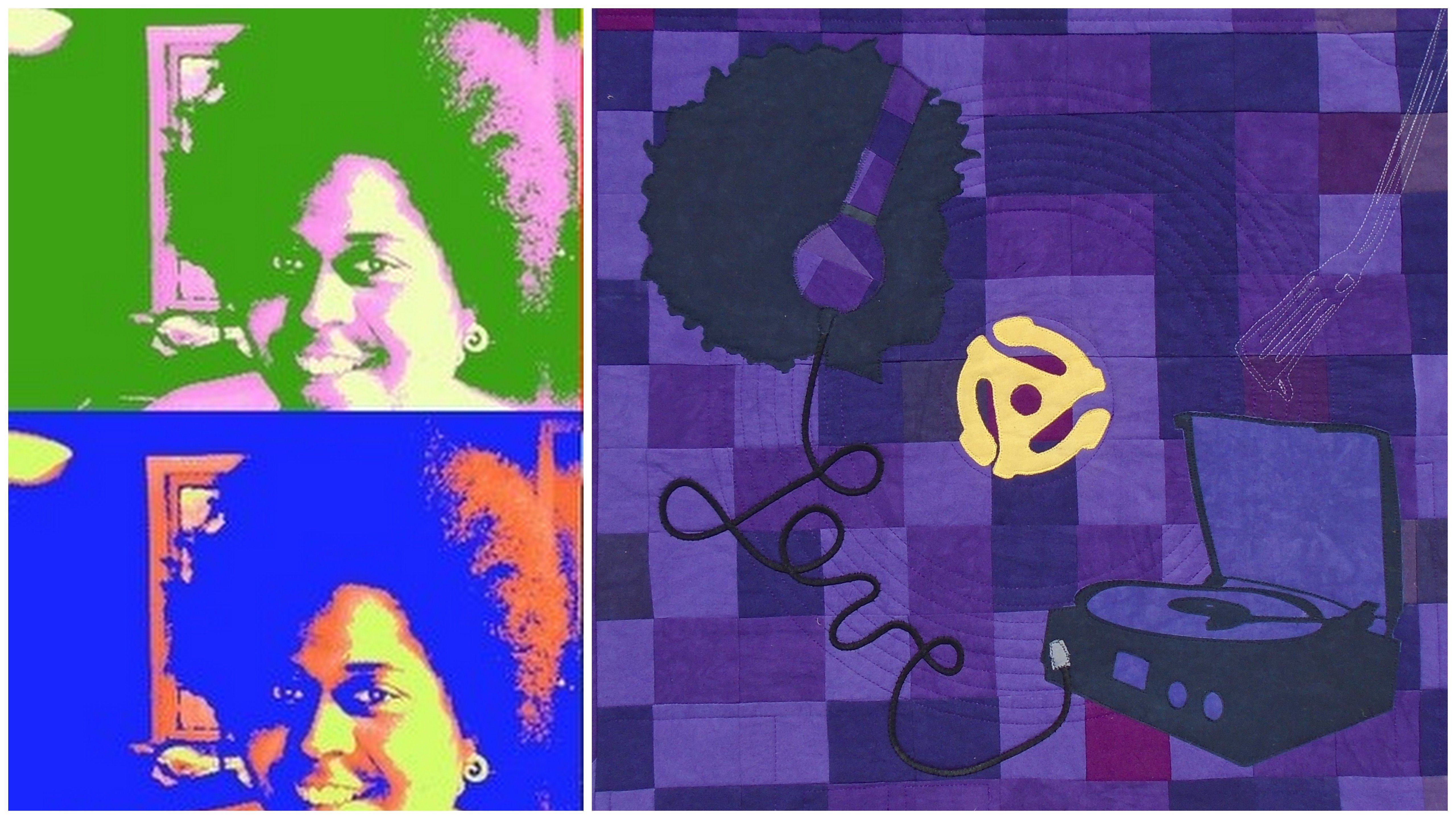 Left - Yanick portrait, Right purple quilt showing a girl with headset and a turnable appliquéd in black fabric