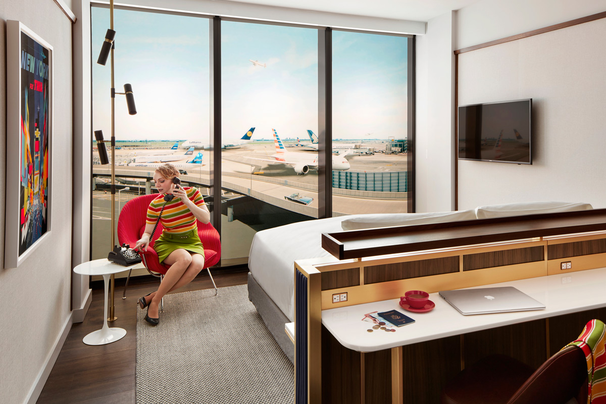 The TWA Hotel's 512 guestrooms have cocktail bars and Hollywood-style vanities.