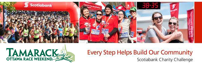 Scotiabank Charity Challenge Photo collage: Start line, medalists and excited runners.