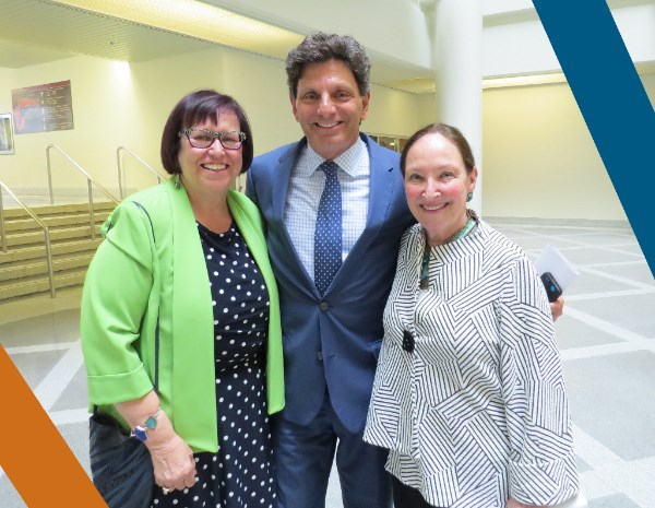 Former Executive Director Paula Agulnik, Lawrence Greenspon, and The Honourable Madame Justice Rosalie Abella at the Lawyer Appreciation 5-7 event