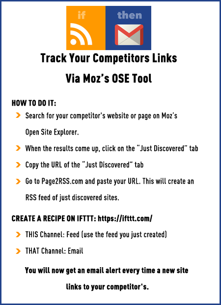 Track Your Competitors Links Via Moz's Open Site Explorer Tool with IFTTT