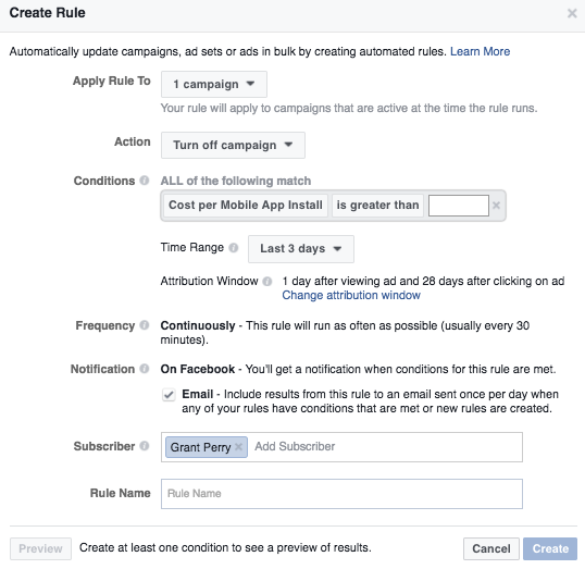 How to create a rule in FB Power Editor