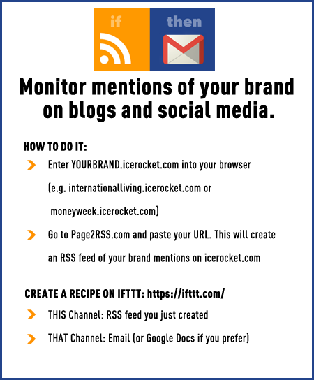 Monitor mentions of your brand on blogs and social media with IFTTT