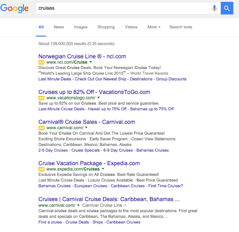 4 Ads at the top of SERPs