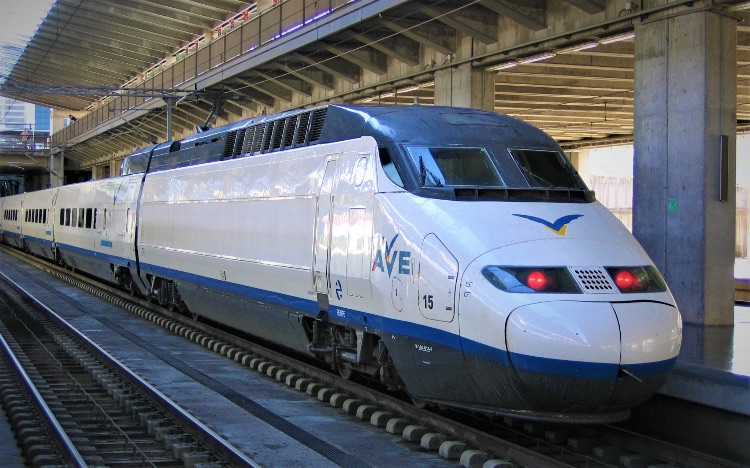 Fly by High Speed Train in Spain
