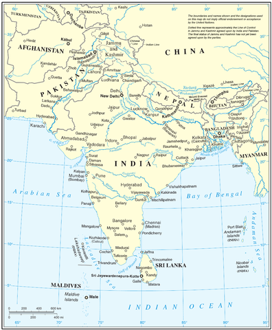 Map of South Asia linking to the Department of Comparative Studies