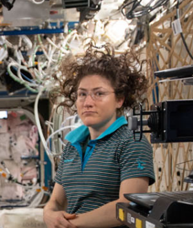 Astronaut with floating hair
