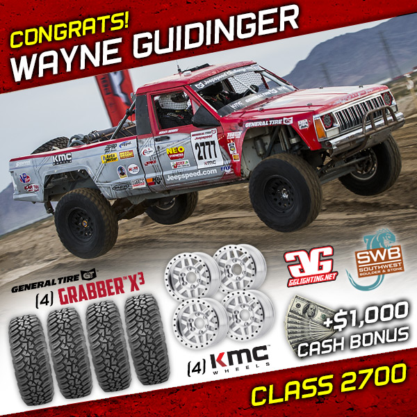 Wayne Guidinger, Jeepspeed, Class 2700, General Tire, KMC Wheels, Southwest Boudler & Stone, GG Lighting, Bink Designs