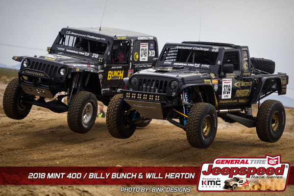 Jeepspeed, Billy Bunch, Will Heaton, General Tire, KMC Wheels, Bink Designs, The Mint 400