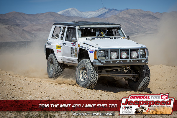 Mike Shelter, Jeepspeed, The Mint 400, Bink Designs, General Tire, KMC Wheels