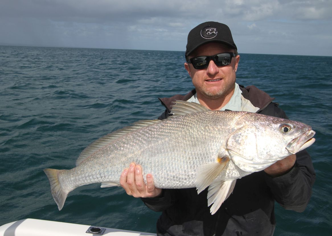 John with a black Jew - Hervey Bay Fly and Sport Fishing