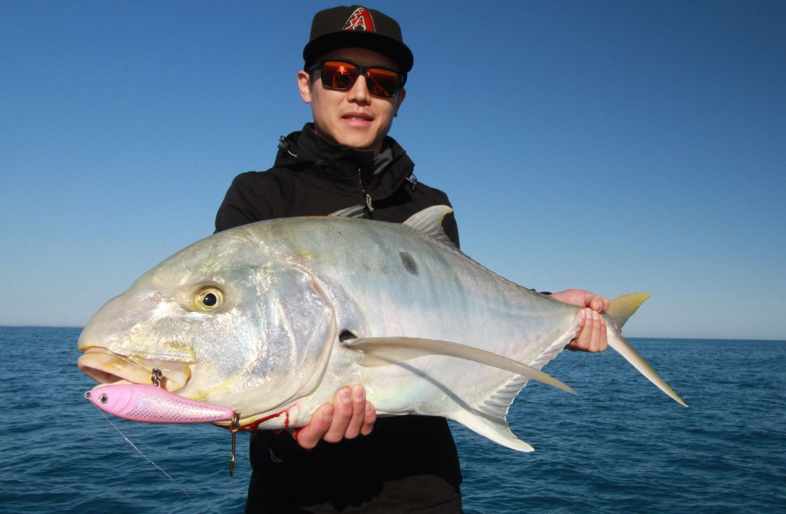 Josh takes out catch of the month with this golden trevally caught on a stick bait , a Nashys Custom 120