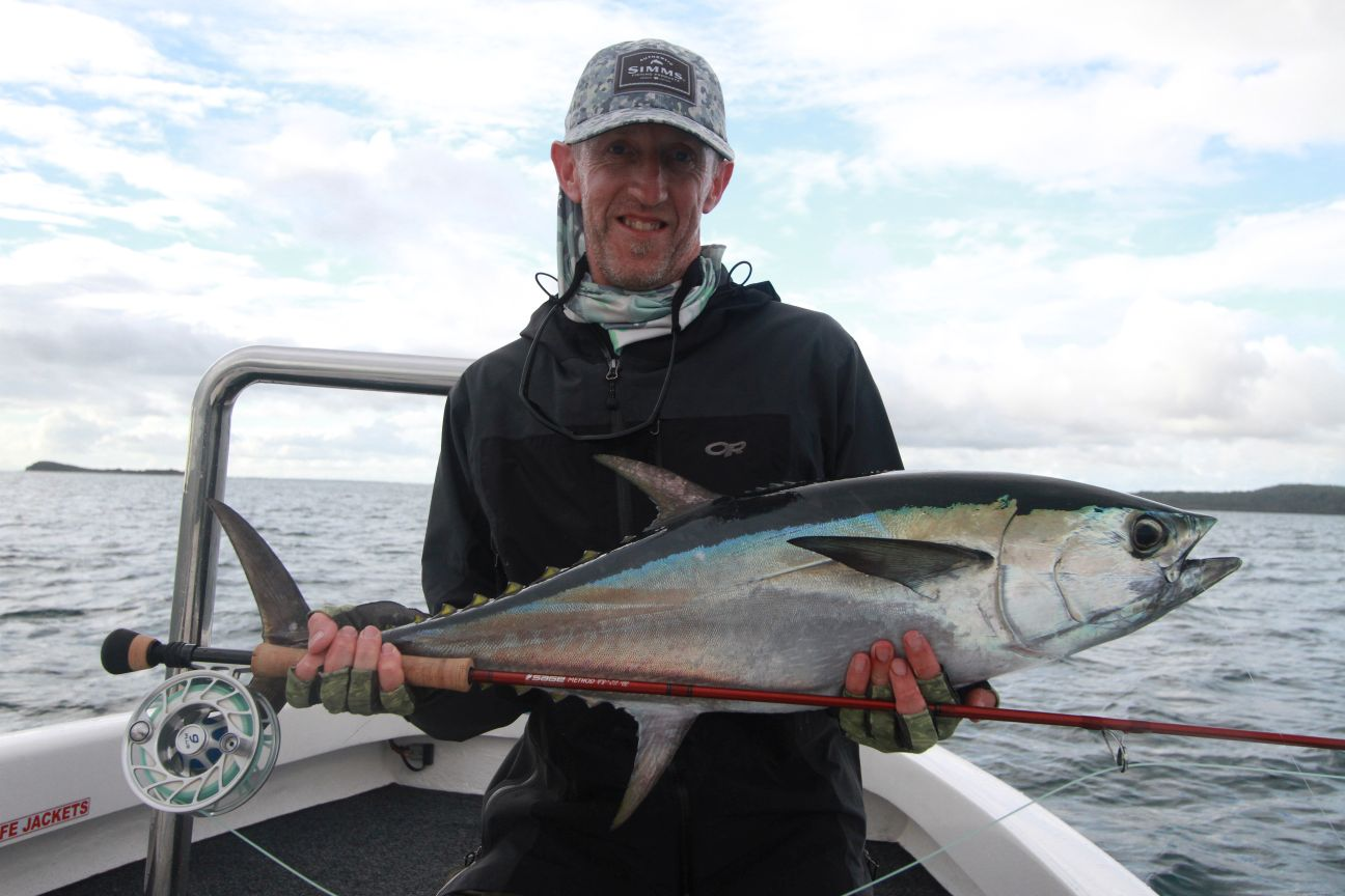 Warren Holm With a Longtail Tuna on Fly caught in ideal conditions