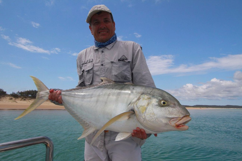 Big golden trevally in shallow water visual and challenging