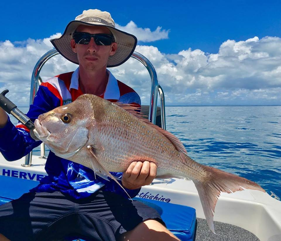 Ashley takes out catch of the month with a tropical pink snapper caught in 30 c water while being guided by Murray, well done Ashley great fish.