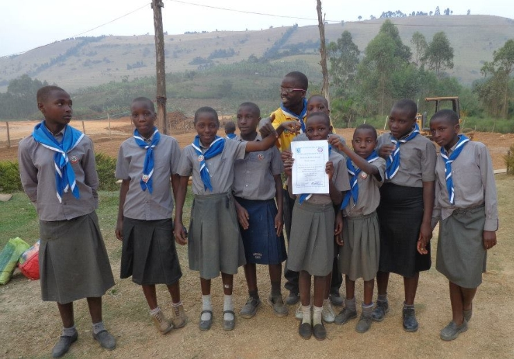 Girl Scouts with their Certificate
