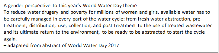 A gender perspective to this year's World Water Day themeTo reduce water drugery and poverty for millions of women and girls, available water has to be carefully managed in every part of the water cycle: from fresh water abstraction, pre-treatment, distribution, use, collection, and post treatment to the use of treated wastewater and its ultimate return to the environment, to be ready to be abstracted to start the cycle again.– adapated from abstract of World Water Day 2017