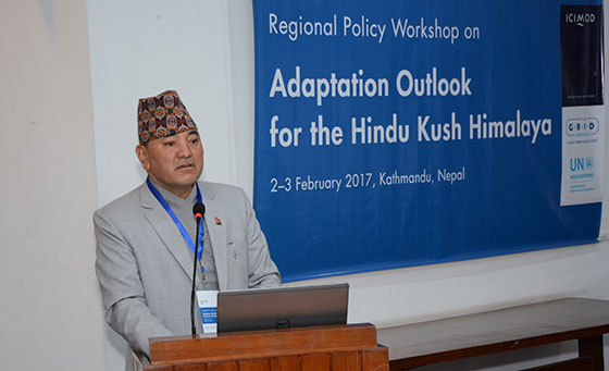 Yubak Dhoj GC, Secretary, Ministry of Livestock Development, Government of Nepal addressing the workshop Photo: Rajendra Shakya/ICIMOD