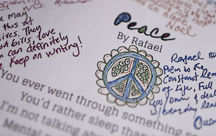 """A poem entitled """"Peace"""" with illustrations and feedback/comments surrounding it."""