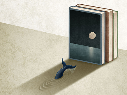 Whale swimming into a bookshelf, away from a short stack of books.