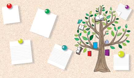 Tree with books and birds on it surrounded by notes pinned to a bulletin board.