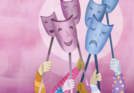 People holding sad & happy masks up in front of a pink background