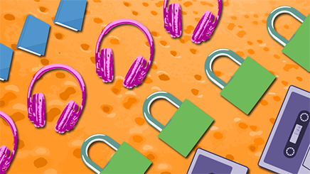 Pop art-style neon books, headphones, locks, and cassette tape images against an orange background of braile