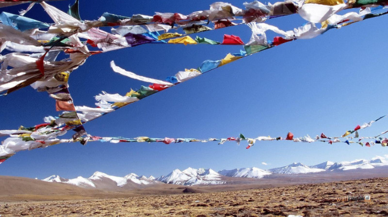 Tibetan prayer flags blowing in the wind with mountains in the background