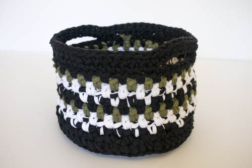 black green and white crocheted basket