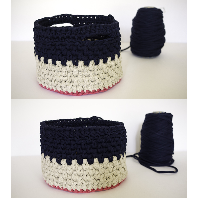Navy and beige crocheted baskets - handles or no handles comparison