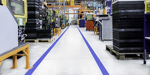 Industrial aisle with dividing line