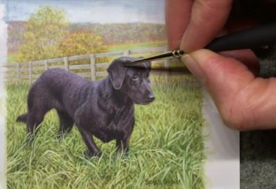 Rachelle Siegrist painting a miniature painting